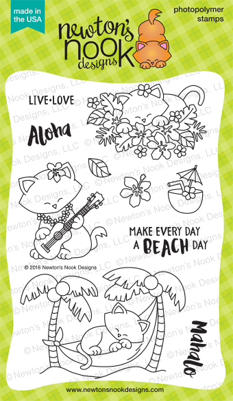Aloha Newton 4 x 6 Hawaii Tropical Island Cat stamp set by Newton's Nook Designs #newtonsnook