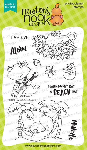 Aloha Newton 4 x 6 Hawaii Tropical Island Cat stamp set by Newton's Nook Designs #newtonsnook