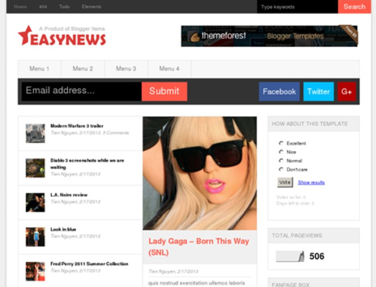Easy News Magazine Blogger Template Free Download