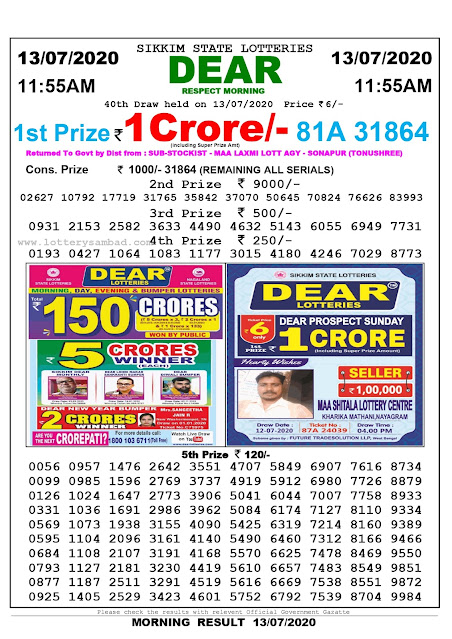 Sikkim State Lottery Sambad 13-07-2020 Today Result 11.55 AM