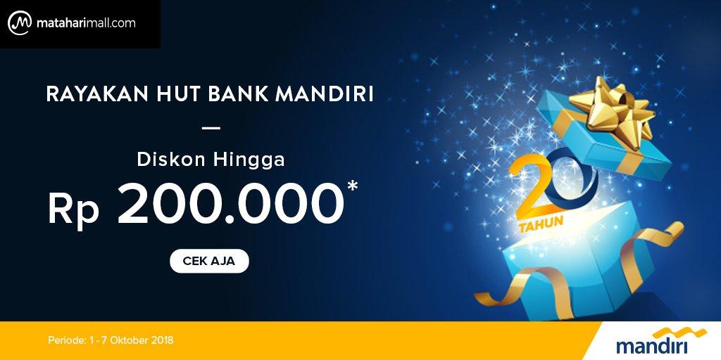 MatahariMall - Promo Diskon 20% di Hut Bank Mandiri (s.d 7 Okt 2018)