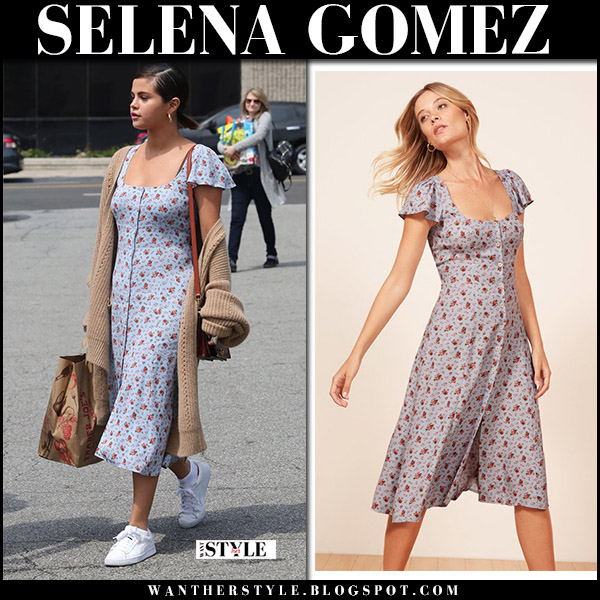 Selena Gomez in blue floral midi dress reformation harbor, white sneakers and camel cardigan free people starling spring style april 1