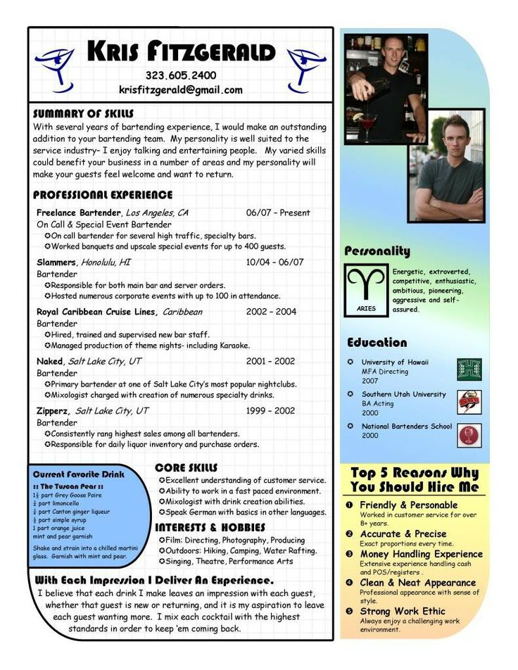 Sample Bartender Resumes  Sample Resumes