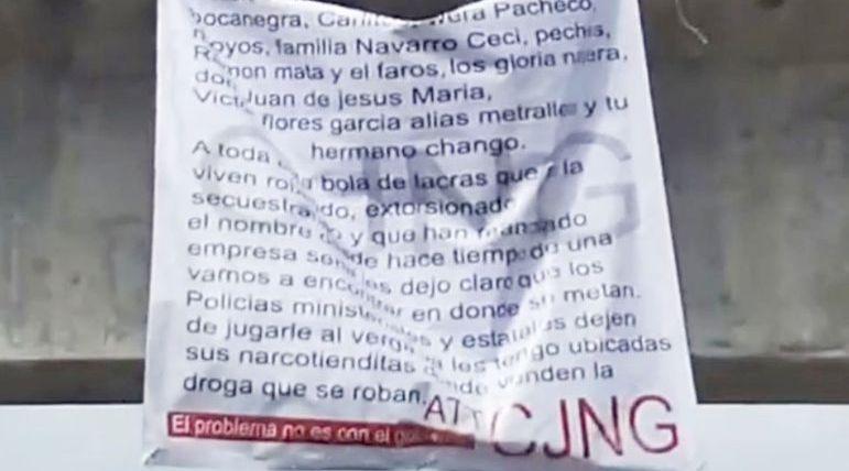 """""""Los vamos a encontrar en donde se metan"""", Sicarios del CJNG dejan narcomensajes colgados en puentes de Aguascalientes"""