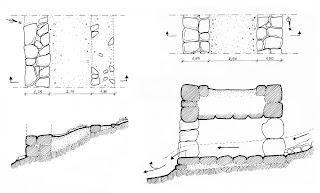Strade: a) pianta e sezione della strada di Agrilovounaki; b) pianta e sezione del ponte Arkadiko.