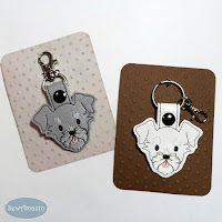 Schnauzer Dog Breed Snap Tab Key Fob, Purse Charm