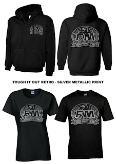 FM - Tough It Out hoodie and T-shirts with retro metallic silver print