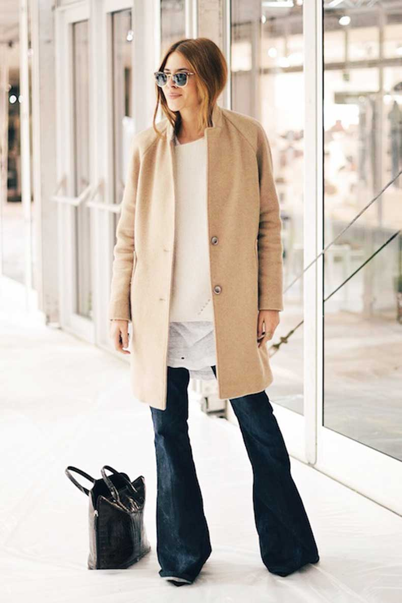 9 Ultra-Cool Ways to Wear Flared Jeans – Camel Coat, Maja Wyh