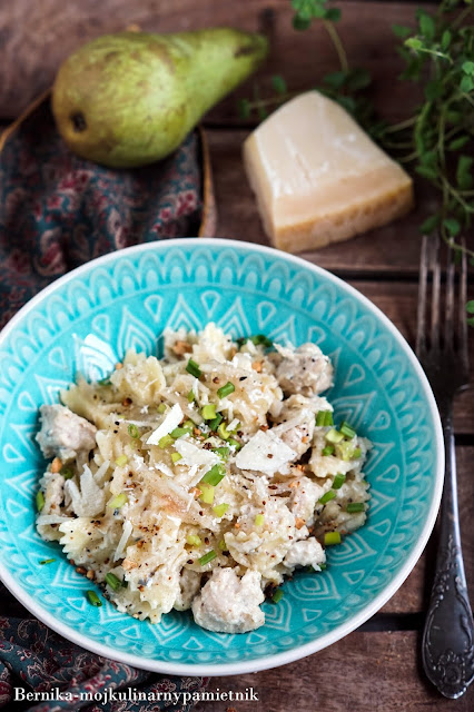 makaron, obiad, gruszka, gorgonzola, kurczak, drob, bernika, kulinarny pamietnik