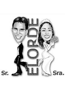 caricatura de noivos sr. e sra. smith