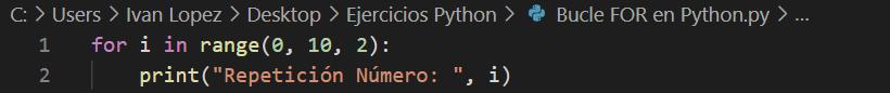 Ciclo for en python de dos en dos