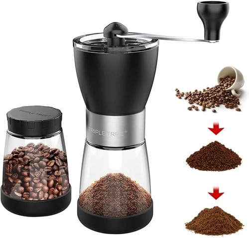 TRIPLE TREE Hand coffee grinder mill with Ceramic Burrs