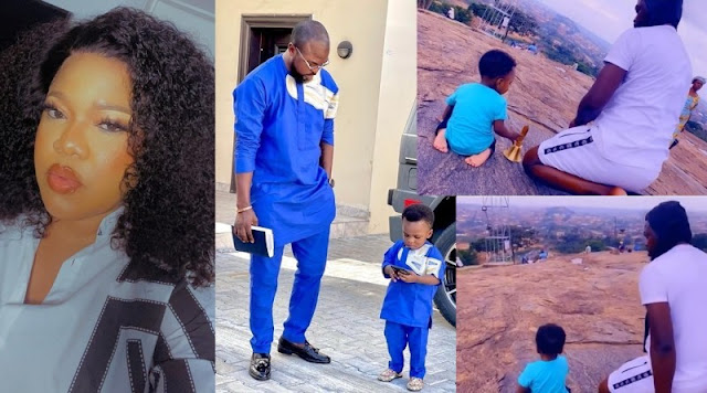 Watch the Lovely Moment as Toyin Abraham shares the clip of her son and her Husband Prays on a Mountain (Video)