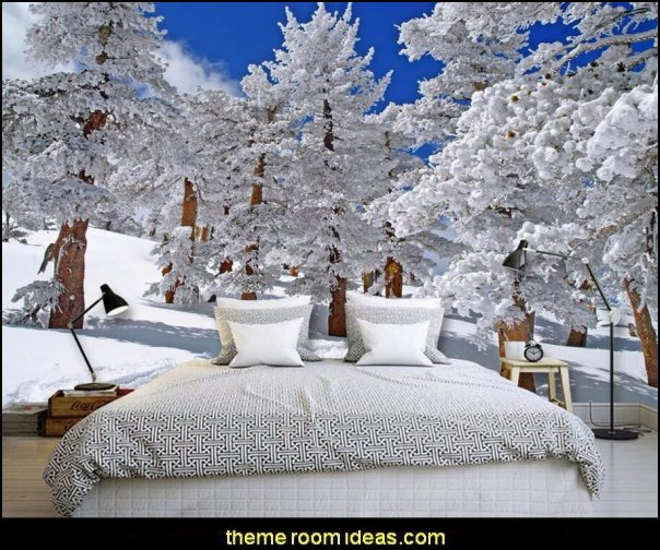 Ski cabin decorating - ski lodge decor - winter cabin decorating ski resort bedroom ideas - winter wall murals - ski chalet theme bedroom decorating ideas - modern rustic style winter cabin decor - Swiss alps decoration Alpine theme decorating - adventure bedroom design ideas - ski alps wall decal stickers