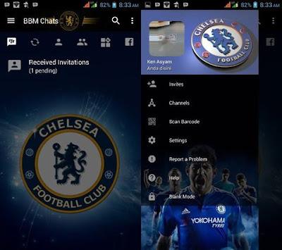 Download BBM MOD Chelasea Versi Terbaru v3.2.0.6 APK Transparan Theme