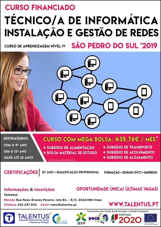 Curso financiado de Informática em São Pedro do Sul (Bolsa: 435€/mês)