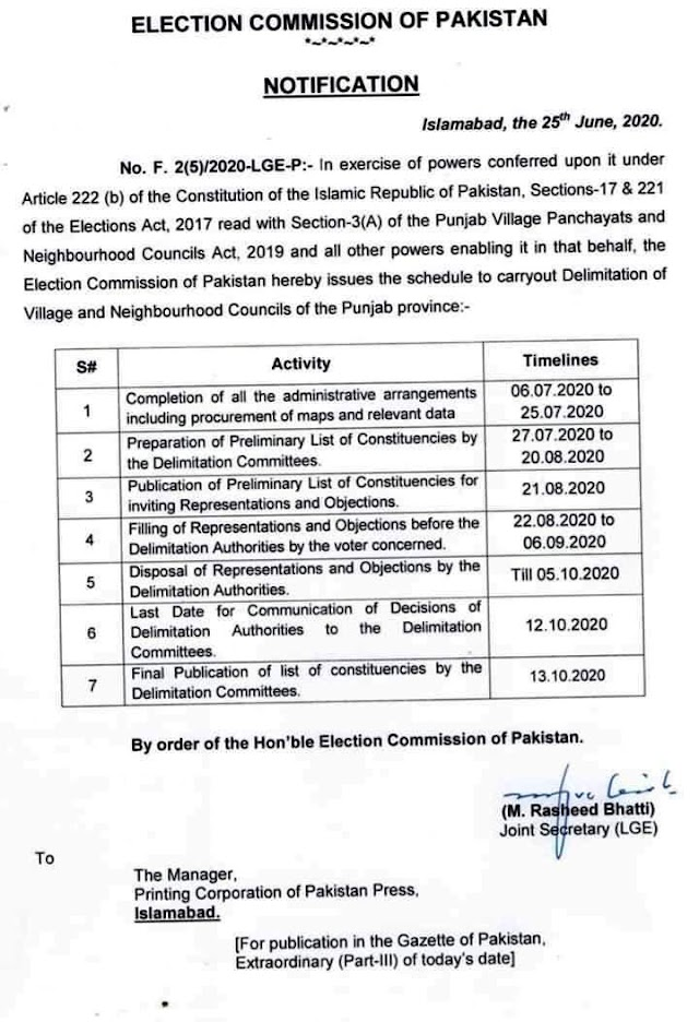 SCHEDULE TO CARRYOUT DELIMITATION OF VILLAGE AND NEIGHBOURHOOD COUNCILS