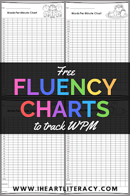 Free Reading Fluency Charts - Free literacy resources from iHeartLiteracy #readingfluency #ela #teaching #fluency #reading #free