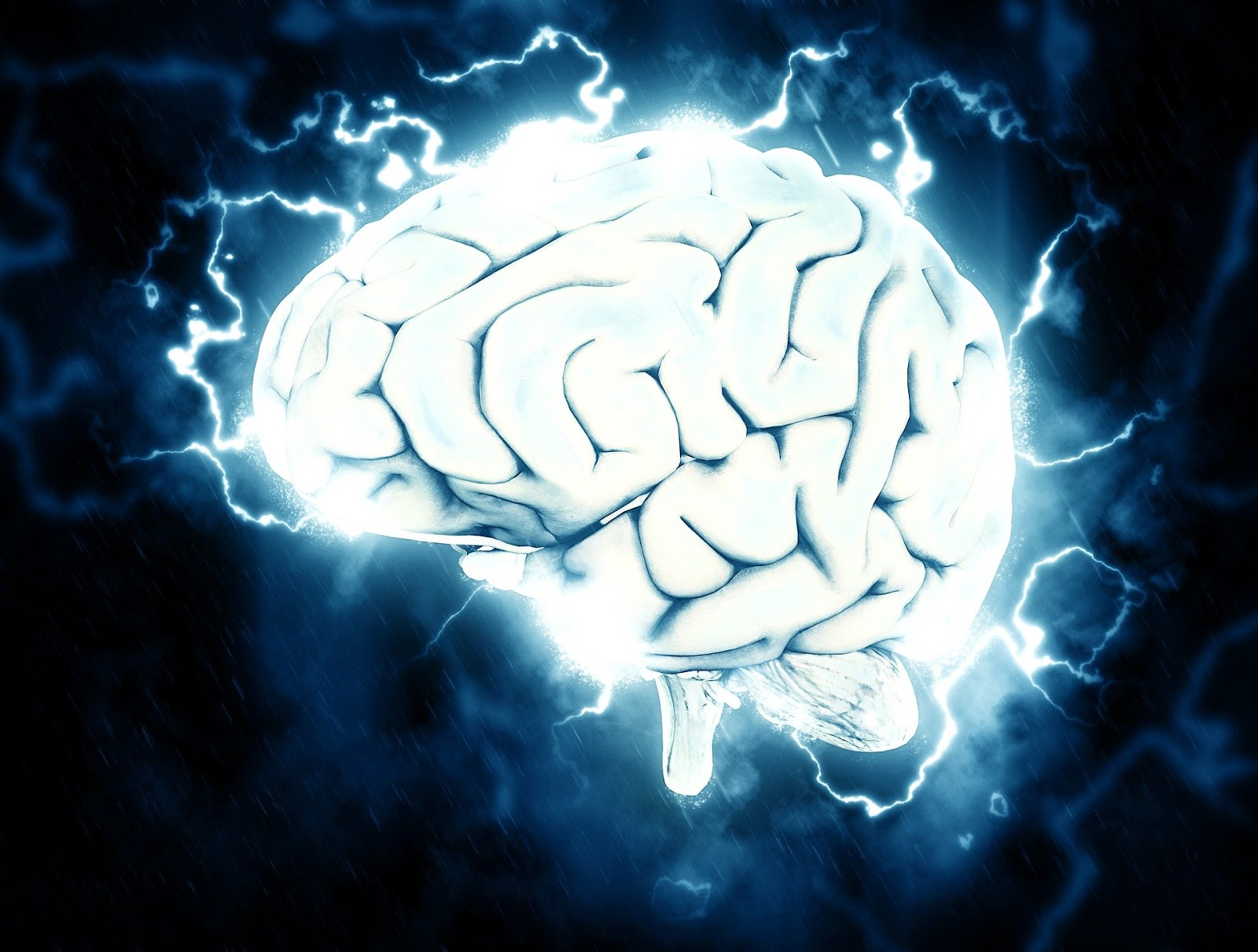 a blue human brain with blue electricity coming out for blog post about war movie battle tactics