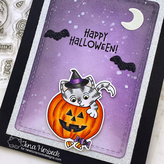 Happy Halloween Kitten Card by Tina Herbeck   Trick or Treat Kittens Stamp Set and Brooms & Boos Stamp Set by Newton's Nook Designs #newtonsnook