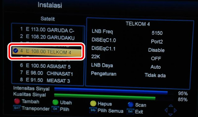 Scan Tv One Satelit Telkom 4