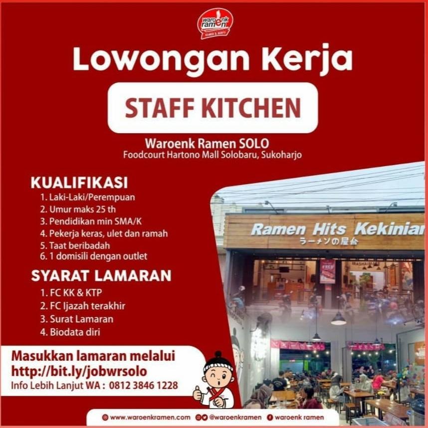 Info Lowongan Kerja Sebagai Staff Kitchen di Waroenk Ramen Solo terbaru tahun 2021