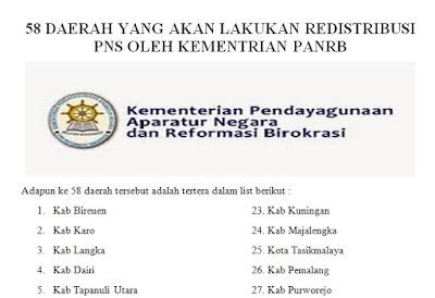 58 Daerah Yang Akan Lakukan Redistribusi PNS Oleh Kementrian PANRB