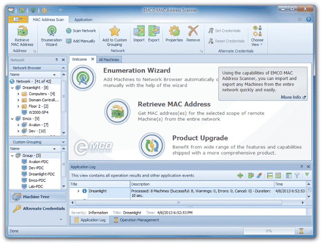 برنامج مجاني لمعرفة الماك ادريس لجميع الأجهزة المتصلة بالشبكة EMCO MAC Address Scanner