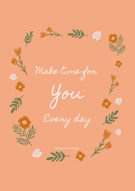 "Pinterest graphic with a peach background with white writing saying ""make time for you everyday"" on it"