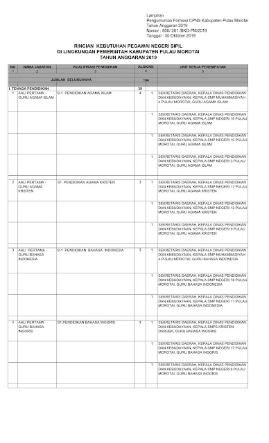 Formasi CPNS Kabupaten Pulau Morotai Tahun Anggaran 2019