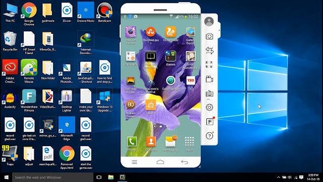 mirror_go هو برنامج بسمح لك بتوصيل وفتح جهازك الموبايل الخاص بك على جهاز الكمبيوتر ويمكنك من خلال ذلك تشغيل العاب الاندرويد على الكمبيوتر ويمكنك ايضا تصوير اللعبه من خلال خاصيه التصوير الموجوده فى البرنامج كما يمكنك فتح كاميرا الموبايل والتصوير او عمل بث مباشر من خلال ذلك