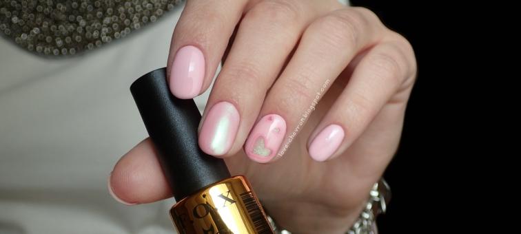 F.O.X Pigment 288   walentynkowe paznokcie   Cosmetics Zone Strong Base   Born Pretty Mirror Glitter Powder   Indigo Top Dry   różowe paznokcie   krótkie paznokcie hybrydowe   zdobienie na hybrydzie  