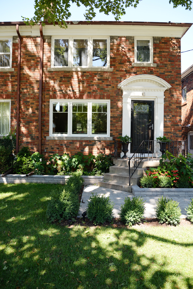 before and after home renovations, home remodel ideas, exterior renovation, paver walkway diy