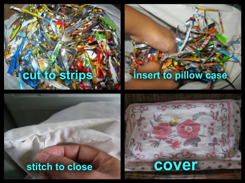 "<img src=""recycling.gif"" alt="" procedure in making pillow out of junk food wrapper"" />"