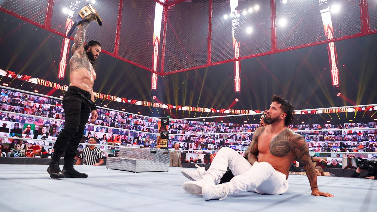 WWE Universal Champion Roman Reigns and Jey Uso at Hell in a Cell 2020