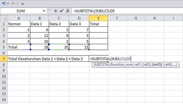 cara menjumlahkan antar kolom dengan subtotal di excel