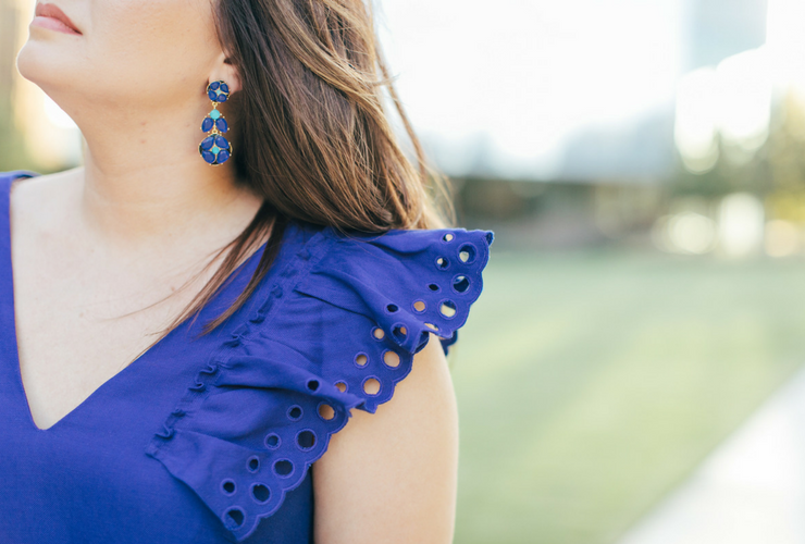 Bright Blue Ruffle-Shoulder Dress