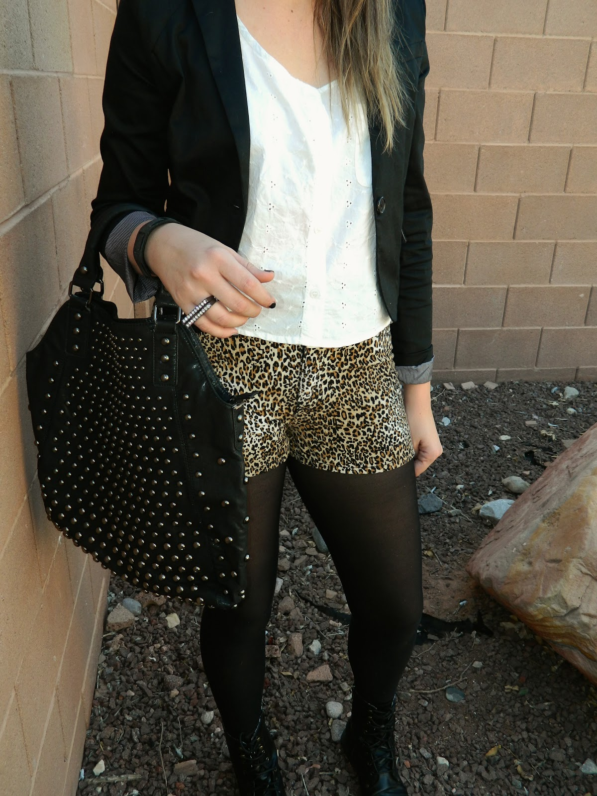 black purse, black tights