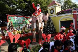 Elephant Santas spread coronavirus awareness among Thai children
