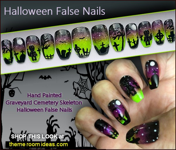 Graveyard Cemetery Skeleton Halloween False Nails  Halloween Nail Designs Halloween Nails