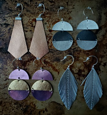 earrings, leather, metallic leather, jewelry, feathers, sterling silver