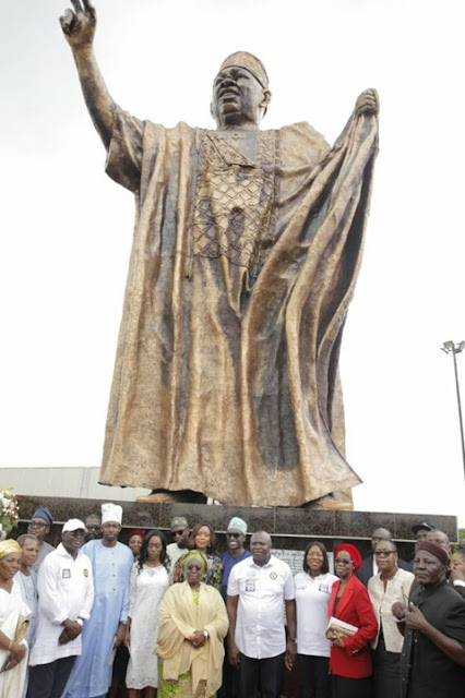 Giant 46-Feet Statue Of M.K.O Abiola Unveiled In Lagos