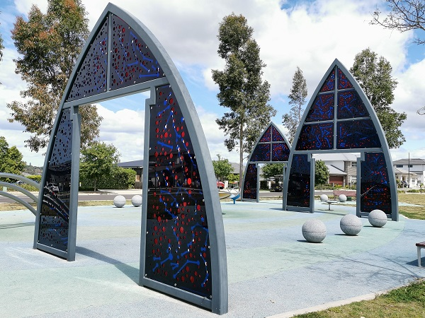 Public Art in Cambelltown called Gates of Light by Khaled Sabsabi