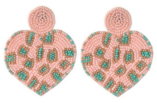 pink and mint green seed bead heart earrings