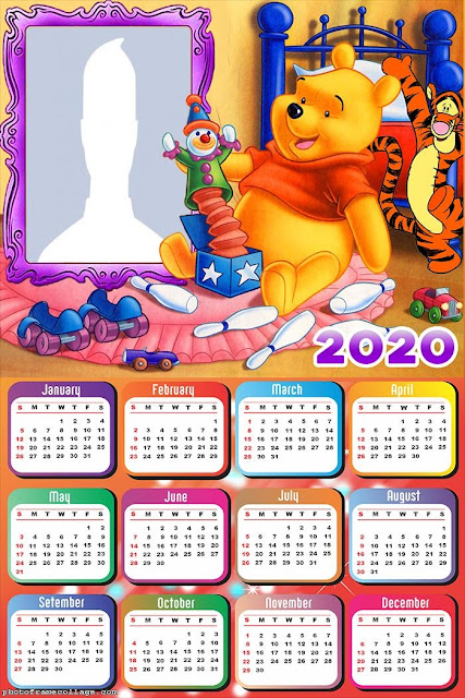 Winnie the Pooh: Free Printable 2020 Calendar.