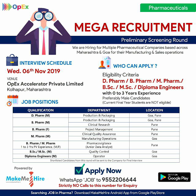 Mega Job Recruitment for Freshers and Experienced candidates in multiple positions on 6th November, 2019