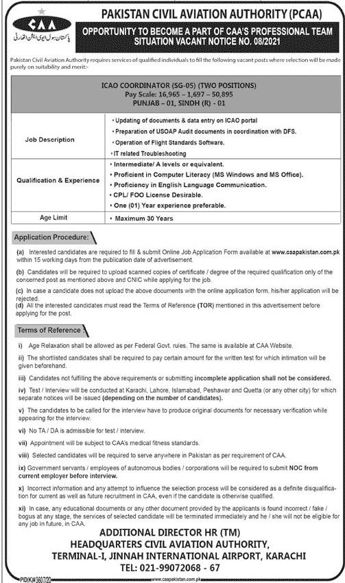 www.caapakistan.com.pk Jobs 2021 - Pakistan Civil Aviation Authority (PCAA ) Jobs 2021 in Pakistan