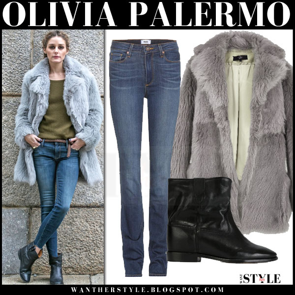 Olivia Palermo in grey fur tibi coat, khaki sweater and black ankle isabel marant cluster boots what she wore casual streetstyle