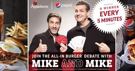 All-in Burger Debate Sweepstakes + $25 Applebee's Gift Code! 2 Winners!
