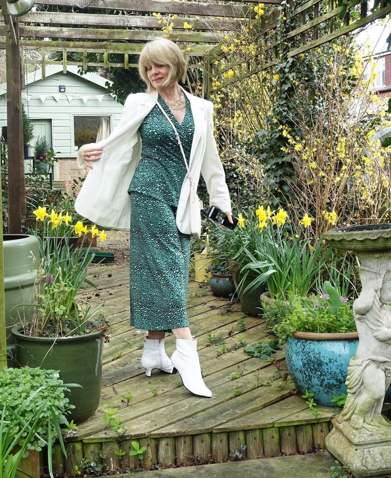 Matching co-ordinates - tops with bottoms - are still very fashionable. Over 50s blogger Gail Hanlon shows a green leopard top with tie waist and matching culottes by Kettlewell.